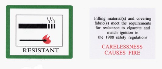 Label for cigarette and match resistant.